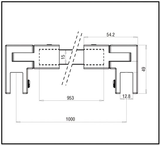 Barre de stabilisation verre-verre  square 15x15 verre-verre.