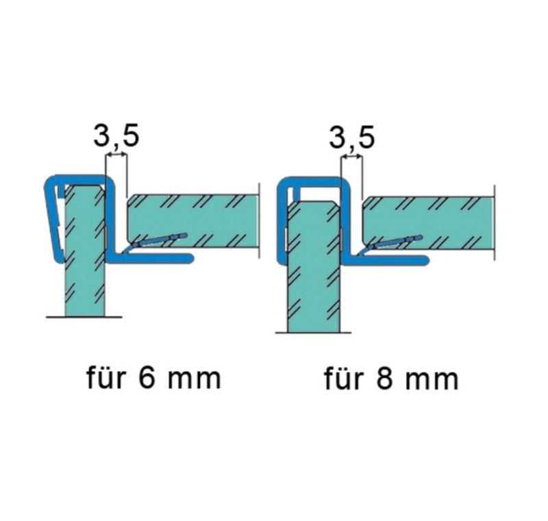 Joint d'étanchéité pour porte/pan fixe 90° pour 6 - 8 mm