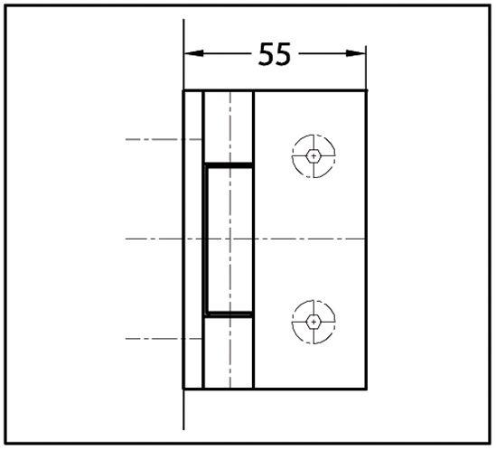 Charnière BELLA Verre mur 90° ouverture extérieure