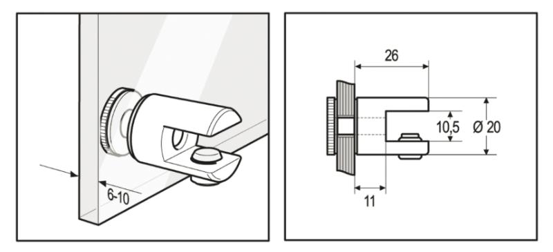 Support tablette verre  double à fixer sur paroi verre