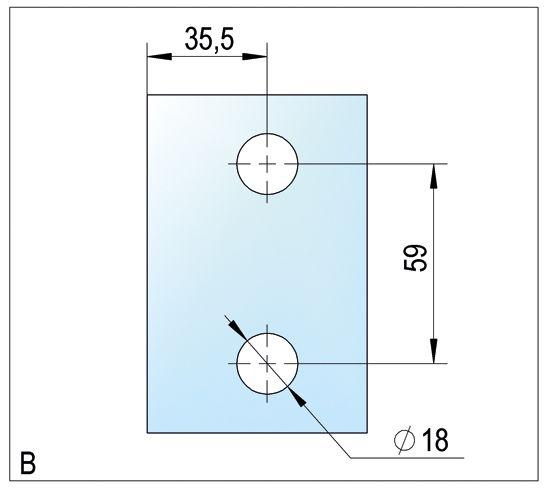 Raccord d'angle Bilbao verre-verre 90°