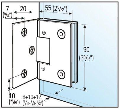 Charnière BILBAO Select verre mur 90°
