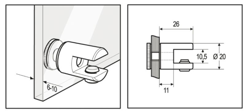 Support tablette verre simple à fixer sur paroi de verre