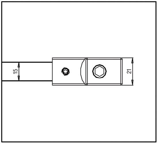 Raidisseur verre - mur 45° - carré 15x15