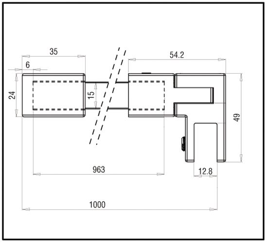Raidisseur verre - mur 90° - carré 15x15