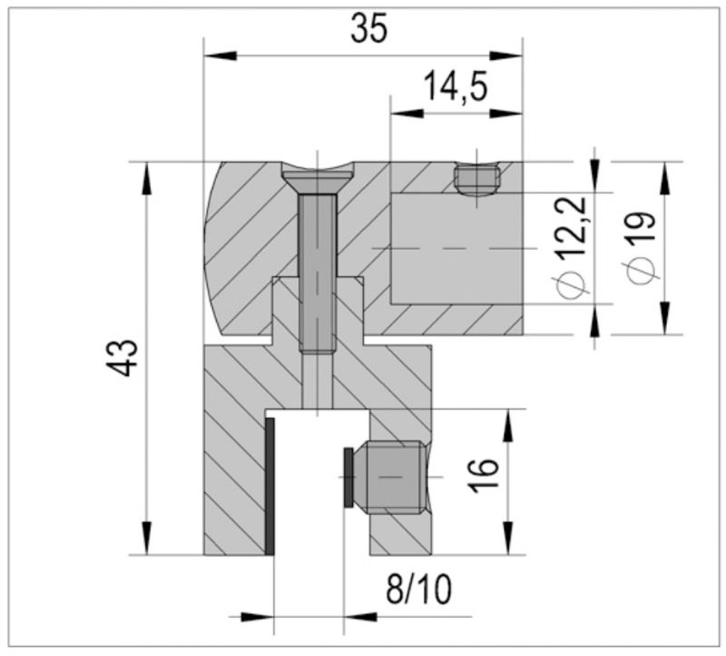 Raccord verre pour raidisseur diametre 12 mm