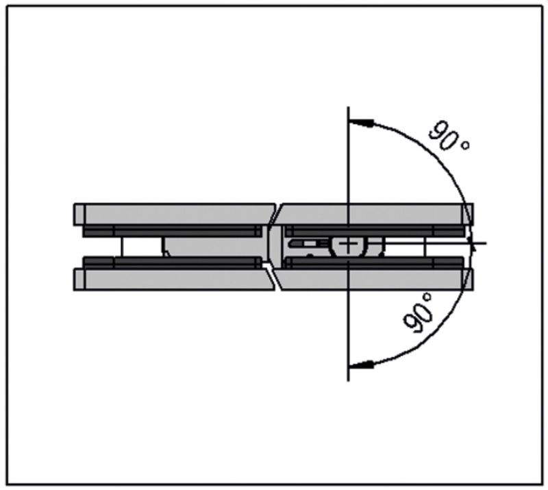 Charnière Santos verre verre 180° (Lot de 2)
