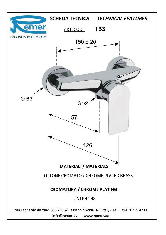 Mitigeur Mono-commande pour douche - INFINI