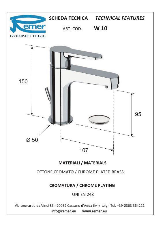 Mitigeur lavabo WINNER vidage laiton - chromé - économie énergie