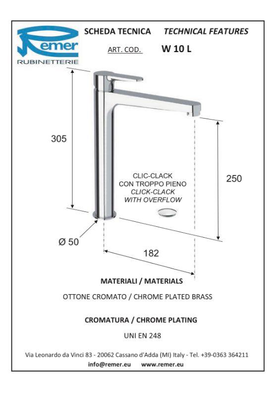 Mitigeur lavabo surélevé WINNER avec vidage clic clac -