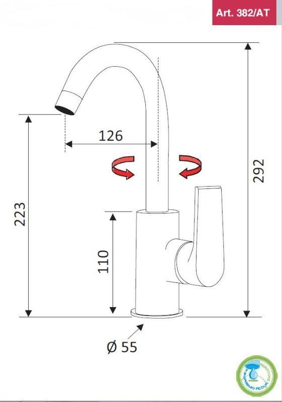 Mitigeur lavabo bec haut mobile ARTIQUE vidage clic clac- chromé