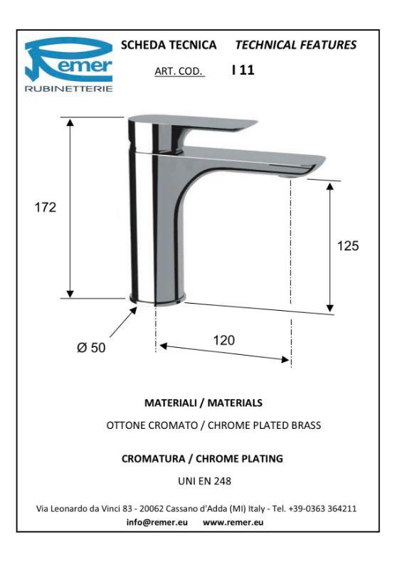 Mitigeur lavabo INFINI sans vidage - chromé