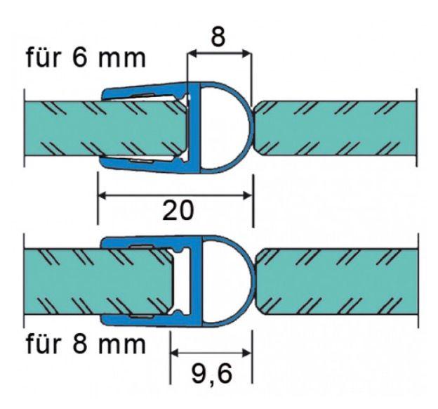Joint d'étanchéité avec soufflet 6-8 mm