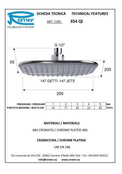 Tête de douche 200x200 ABS chromé/gris