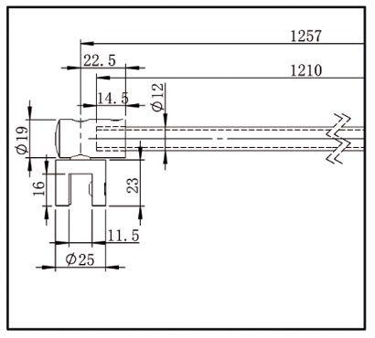 Barre de stabilisation ronde  ø12 verre-mur orientable
