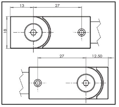 Barre de stabilisation square 12x12 verre-mur orientable