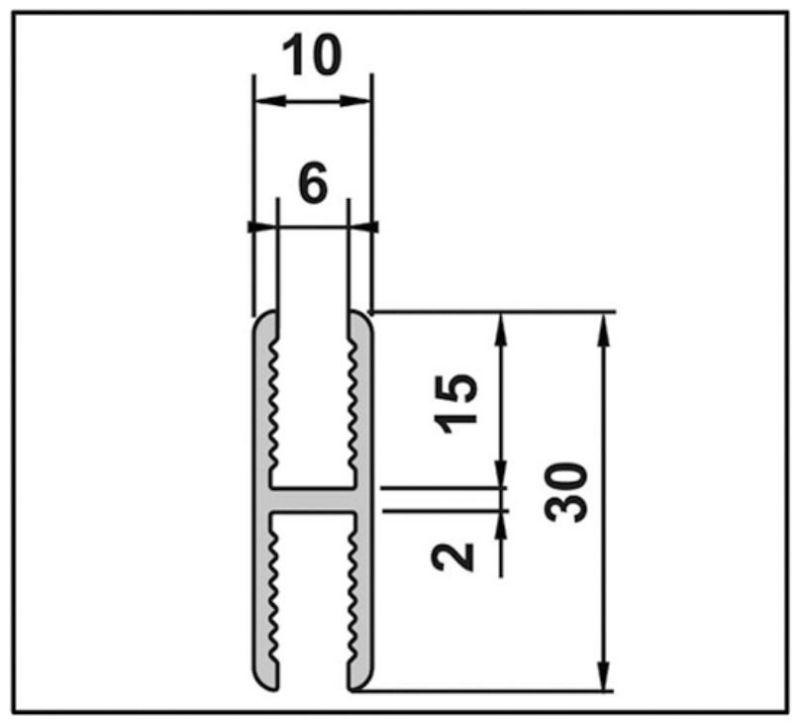 Profilé adaptation pour charnière AQUA 6mm 180°